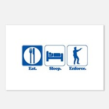 Eat. Sleep. Enforce. (Police/Cop) Postcards (Packa