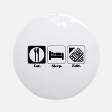 Eat. Sleep. Edit. (Newspaper Editor) Ornament (Rou
