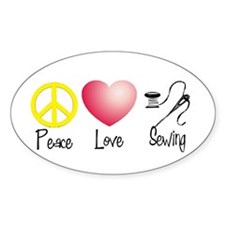 Peace, Love, Sewing Oval Decal