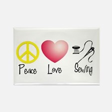 Peace, Love, Sewing Rectangle Magnet
