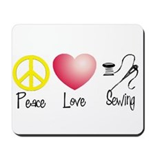Peace, Love, Sewing Mousepad