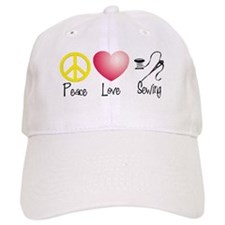 Peace, Love, Sewing Baseball Cap