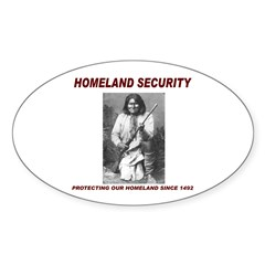 Geronimo Homeland Security Oval Sticker (10 pk)