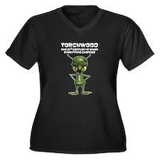 Torchwood Women's Plus Size V-Neck Dark T-Shirt
