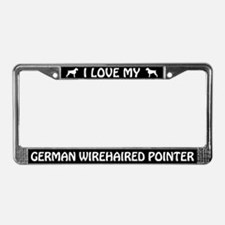 I Love My German Wirehaired Pointer License Frame