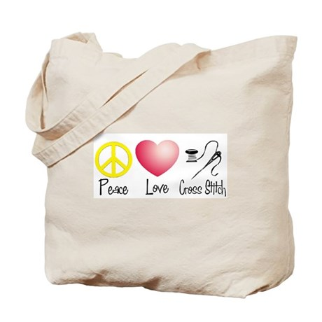 Peace, Love, Cross Stitch Tote Bag