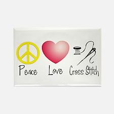 Peace, Love, Cross Stitch Rectangle Magnet