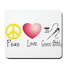 Peace, Love, Cross Stitch Mousepad