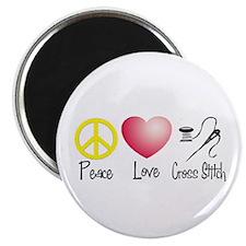 Peace, Love, Cross Stitch Magnet