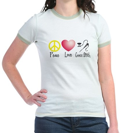 Peace, Love, Cross Stitch Jr. Ringer T-Shirt
