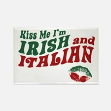 Kiss Me I'm Irish and Italian Rectangle Magnet