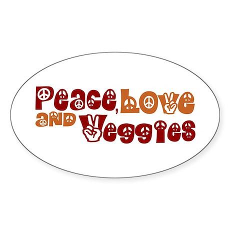 Peace, Love and Veggies Oval Sticker (50 pk)