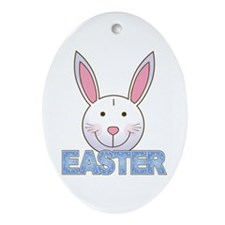 Easter Bunny (Blue) Oval Ornament