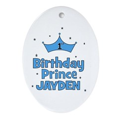 1st Birthday Prince - Jayden Oval Ornament