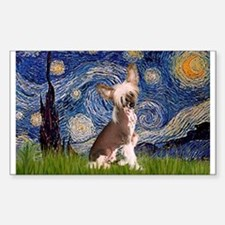 Starry Night/Chinese Crested Rectangle Decal