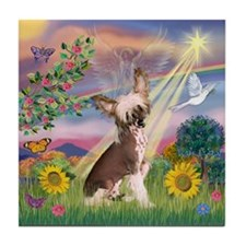 Cloud Angel/Chinese Crested Tile Coaster