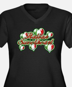 Italian Sweetheart Women's Plus Size V-Neck Dark T