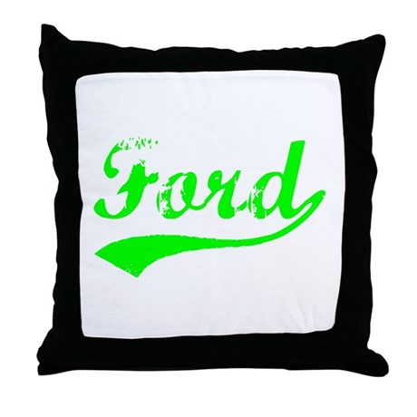 Vintage Ford (Green) Throw Pillow