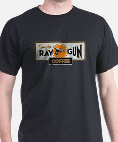 Space Age Ray gun coffee logo t-shirt (dark)