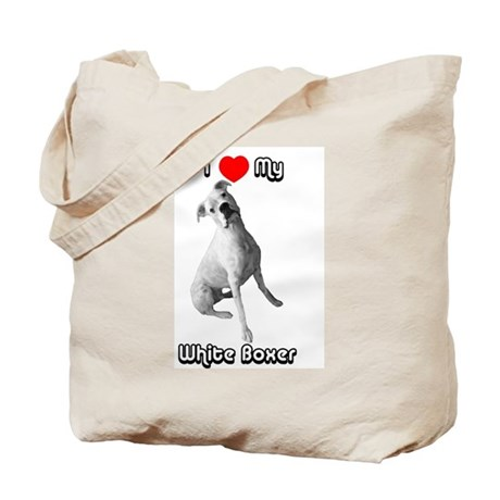I Heart My White Boxer Tote Bag
