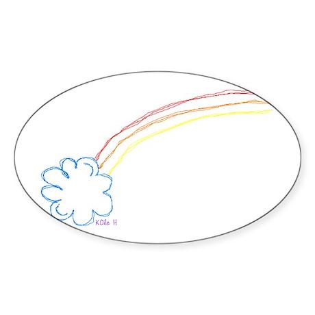 Rainbow Sketch Oval Sticker