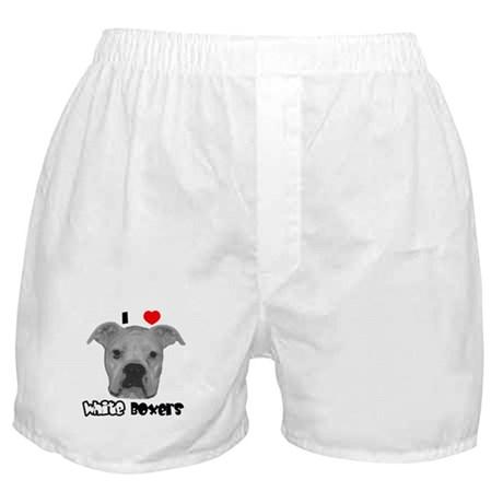 I Heart White Boxers Boxer Shorts