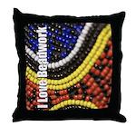 I Love Beadwork - Beads Throw Pillow