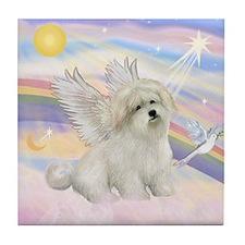 ANGEL IN CLOUDS /Coton de Tulear Tile Coaster