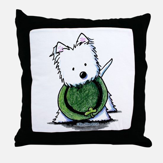 Lucky Charm Westie Throw Pillow