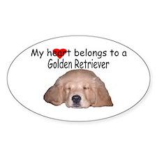 Golden Retriever My Heart Oval Decal