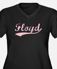 Vintage Floyd (Pink) Women's Plus Size V-Neck Dark
