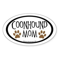 Coonhound Mom Oval (inner border) Oval Decal