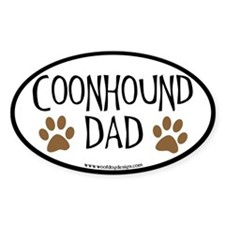 Coonhound Dad Oval (black border) Oval Decal