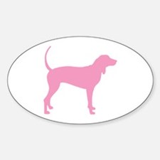 Pink Coonhound Oval Decal