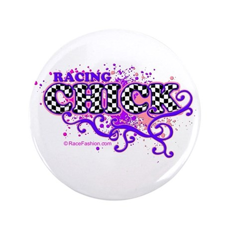"""Racing Chick Hot 3 3.5"""" Button"""