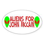 Aliens For John McCain Oval Sticker (50 pk)