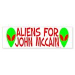 Aliens For John McCain Bumper Sticker (50 pk)