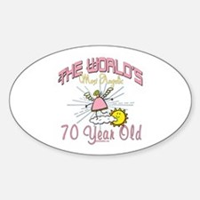 Angelic At 70 Oval Decal