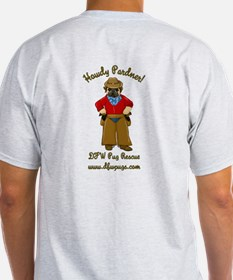 Cowboy Pug Double Sided Brown Text T-Shirt