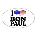 I Love Ron Paul Oval Sticker (10 pk)