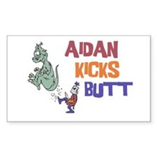 Aidan Kicks Butt Rectangle Decal