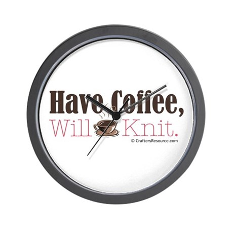 Have Coffee, Will Knit Wall Clock