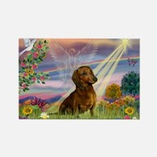 Cloud Angel & Dachshund Rectangle Magnet (10 pack)