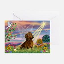 Cloud Angel & Dachshund Greeting Card