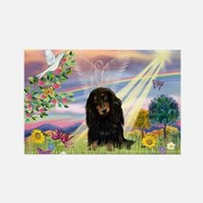 Cloud Angel Doxie (Black LH) Rectangle Magnet