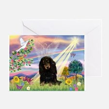 Cloud Angel Doxie (Black LH) Greeting Card