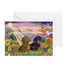 Autumn Angel & Dachshund Pair Greeting Card