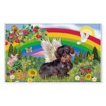 Rainbow & Wire Haired Dachshund Sticker (Rectangul