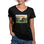 Rainbow & Wire Haired Dachshund Women's V-Neck Dar