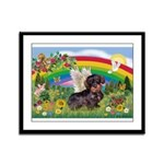 Rainbow & Wire Haired Dachshund Framed Panel Print